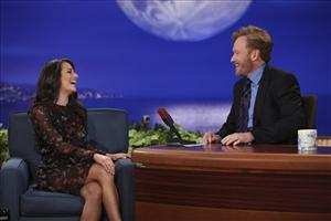 In this photo provided by TBS, Conan O'Brien, right, and guest Lea Michele are seen during the debut of O'Brien's new TBS show Conan on Monday, Nov. 8, 2010.