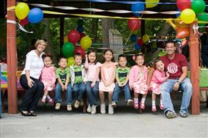 This undated file photo released by TLC shows the Gosselin family posing for a photo at a party to celebrate the sextuplets fifth birthday.