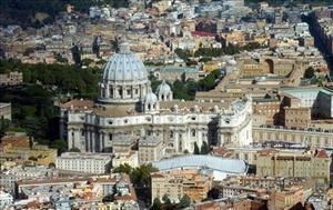 An  aerial view of the Vatican with St. Peter's Basilica is seen in this 2003 file photo made available Friday Feb. 4, 2005.