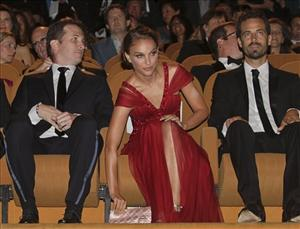 From left, director Darren Aronofsky and actors Natalie Portman, and Benjamin Millepied attend the opening ceremony at the 67th edition of the Venice Film Festival in Venice, Italy.