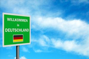 The sign reads Welcome to Germany.