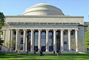 Massachusetts Institute of Technology students play football outside the Maclaurin building October 10, 2003 in Cambridge, Massachusetts.