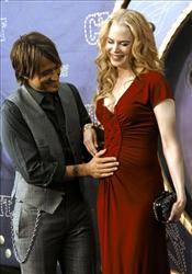 In this April 14, 2008 file photo, Keith Urban pats the stomach of wife Nicole Kidman as they arrive at the CMT Music Awards  in Nashville, Tenn.