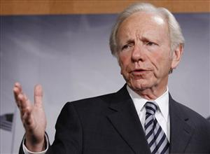 Sen. Joseph Lieberman, I-Conn., speaks during a news conference in Washington last month.