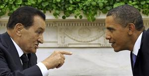 In a Sept. 1, 2010, file photo, President Obama meets with Egyptian President Hosni Mubarak in the Oval Office.