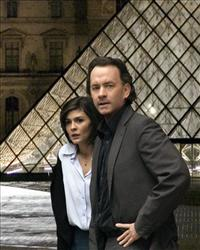 Audrey Tautou and Tom Hanks outside Paris' Louvre Museum in a scene from The Da Vinci Code.