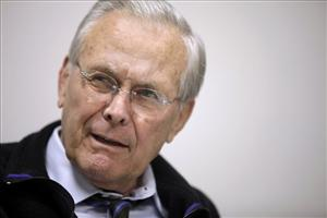 Former Defense Secretary Donald H. Rumsfeld is interviewed at his office in Washington.