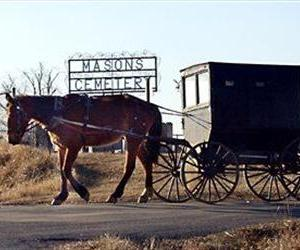 A horse and buggy take an Amish family back to their home.