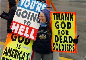 Shirley Phelps-Roper, a member of the Westboro Baptist Church of Topeka, Kan., protests in front of the Pennsylvania Statehouse in Harrisburg, Pa.