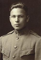 Frank Buckles' 1917 enlistment photo into the US Army.  Buckles quit school aged 16 and hoodwinked recruiters into letting him sign up.