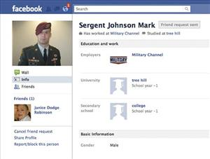 This screen shot  shows a Facebook page set up by a person impersonating Army Sgt. James Hursey.