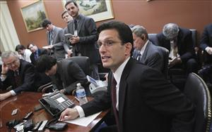 House Majority Leader Eric Cantor of Va. speaks to reporters on Capitol Hill, Monday, Feb. 28, 2011.