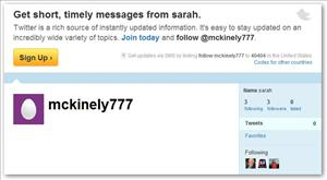A screen shot of the mckinely777 Twitter feed.