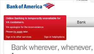 A screen shot of the bank's out-of-order notice.