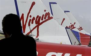 Virgin Blue planes line up at Sydney Airport.