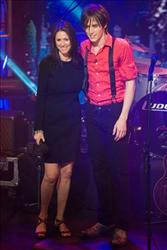In this Sept. 10, 2010 photo, director Julie Taymor, left, and Reeve Carney, star of Broadway's upcoming Spider-Man Turn Off The Dark, appear on stage during ABC's Good Morning America.