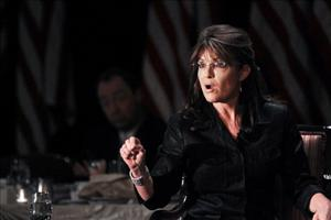 Sarah Palin speaks at the Long Island Association's annual meeting last month in Woodbury, NY.