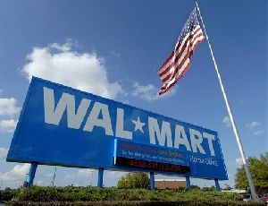 A sign stands in front of the Wal-Mart Stores Inc. headquarters in Bentonville, Ark., in this Friday, Oct. 5, 2007 file photo. (AP Photo/April L. Brown, file)