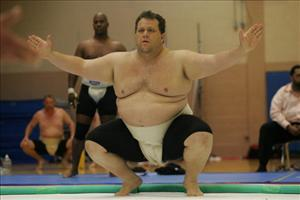 Sumo Wrestler Kelly Gneiting, who weighs 400 pounds, prepares to wrestle during the 2005 USA National SUMO Championship on June 4, 2005 in North Bergen, New Jersey.
