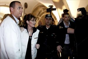 Former Alaska Gov. Sarah Palin arrives at the Western Wall tunnels on March 20, 2011 in Jerusalem, Israel.
