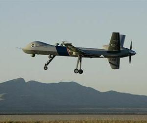 In an Oct. 25, 2007 file photo a Predator drone unmanned aerial vehicle takes off on a U.S. Customs Border Patrol mission from Fort Huachuca, Ariz.