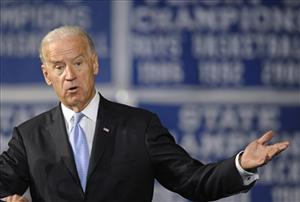 Vice President Joe Biden gestures while speaking at Howard High School of Technology in Wilmington, Del., Monday, March 21, 2011.