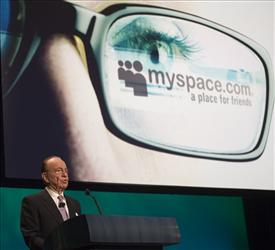 News Corp. Chairman Rupert Murdoch, who owns the social networking Web site MySpace, speaks at the company's Global Energy Initiative in this May 9, 2007, file photo.