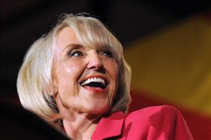 Arizona Governor Jan Brewer addresses the crowd during an Arizona Republican Party election night event at the Hyatt Regency November 2, 2010 in Phoenix, Arizona.