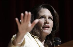 Rep. Michele Bachmann speaks in Pella, Iowa, yesterday.