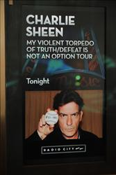 Exterior views of Charlie Sheen LIVE: My Violent Torpedo of Truth at Radio City Music Hall on April 8, 2011 in New York, New York.