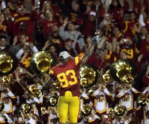 Tight end Fred Davis of the USC Trojans conducts the band in this 2008 file photo. USC says one of its students created the Charge ditty in the 1940s.