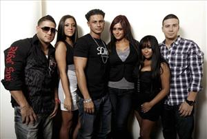 From left, cast members Ronnie Ortiz-Magro, Sammi Giancola, Paul DelVecchio, Jenni Farley, Nicole Polizzi, and Vinny Guadagnino, from the television show Jersey Shore.
