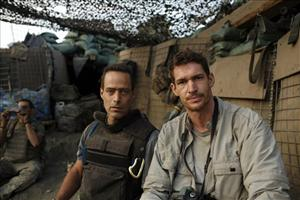 A 2007 image of Sebastian Junger, left, and Tim Hetherington in the Korengal Valley, Afghanistan, during the filming of their documentary Restrepo.