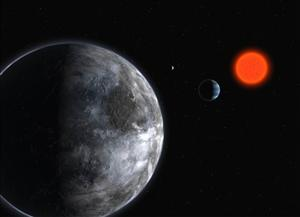 This artistic illustration released by the European Southern Observatory shows planets orbiting the red dwarf star, Gliese 581.