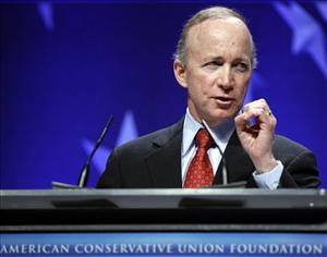 In this Feb. 11, 2011, file photo, Gov Mitch Daniels, R-Ind. speaks during the Ronald Reagan Banquet at the Conservative Political Action Conference in Washington.
