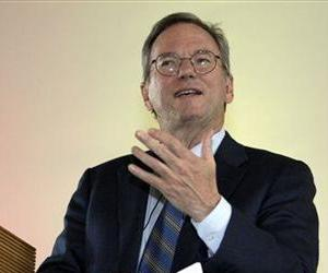 Google CEO Eric Schmidt gestures during his speech at the Humboldt University in Berlin, Germany, Wednesday, Feb. 16, 2011.
