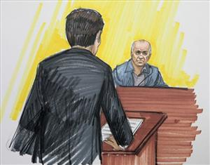 In this courtroom sketch, David Coleman Headley is shown in federal court Monday, May 23, 2011, in Chicago.