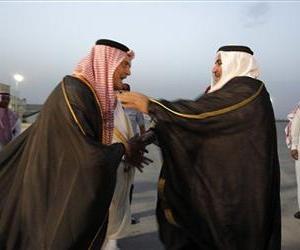 Saudi Foreign Minister Prince Saudi al-Faisal, left, welcomes Bahrain's Foreign Minister Sheikh Khaled bin Ahmad al-Khalifa upon his arrival in Riyadh.