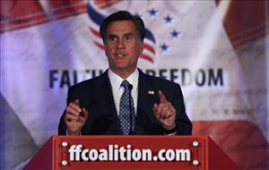 Republican presidential candidate Mitt Romney addresses the Faith and Freedom Coalition June 3, 2011 in Washington, DC.