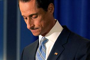 Rep. Anthony Weiner leaves his press conference.