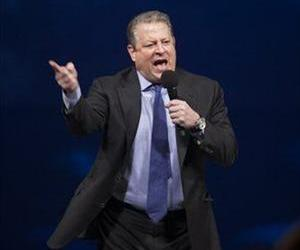 Al Gore speaks to an audience of young people at Free the Children's We Day celebrations in Kitchener, Ontario, Thursday, Feb. 17, 2011.