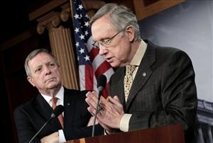 Harry Reid, accompanied by Senate Majority Whip Richard Durbin., speaks to reporters on Capitol Hill.