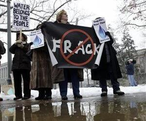 Fracking opponents protest before the  Tom Corbett inauguration to become the 46th governor of Pennsylvania at the state capitol in Harrisburg, Pa., Tuesday, Jan. 18, 2011.