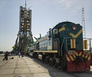The Soyuz TMA-02M spacecraft is rolled out by train to the launch pad at the Baikonur Cosmodrome in Baikonur, Kazakhstan, Sunday, June 5, 2011.
