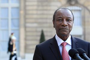 Portrait of Guinea's President Alpha Conde taken after a meeting with France's President Nicolas Sarkozy at the Elysee presidential Palace in Paris, on March 23, 2011.