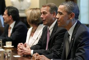 President Obama sits with House Speaker John Boehner, House Minority Leader Nancy Pelosi, and House Majority Leader Eric Cantor during debt ceiling talks.