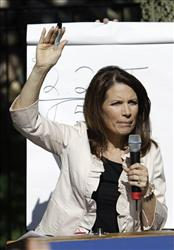 Republican presidential candidate, Rep. Michele Bachmann speaks during a backyard chat with lowa residents last week on the campaign stump.