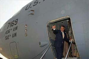 US Secretary of Defense Leon Panetta waves as he leaves Baghdad last month.