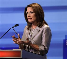 Michele Bachmann  speaks during the Iowa GOP/Fox News Debate at the CY Stephens Auditorium in Ames, Iowa.