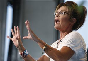 Sarah Palin speaks as she is interviewed by Sean Hannity of FOX News at the Iowa State Fair in Des Moines on Aug. 12.